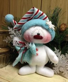 "Primitive HC Holiday Christmas Doll Snowman Snowflake 7"" Super Cute! #IsntThatCute #Christmas"