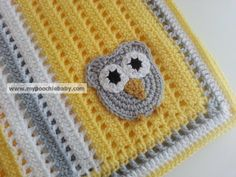 Crochet Owl Baby Blanket in Gray, Yellow and White - Great baby shower gift!