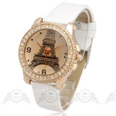 2014 Jewelry circle Case Cambered window glass Eiffel Tower dial Woman Quartz Watches PU-Leather band Lady Wristwatches freeship $6.99