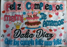 Pancarta de cumpleaños para mi madre Feliz Compleanos, Ideas Para Fiestas, Illustrations And Posters, Cake, Blog, Glamour, Jeans, Tips, Frases