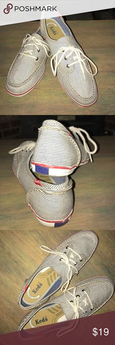 KEDS Chambray Stripe Cotton Kicks The perfect warm weather casual shoe.  As comfy as they are adorable. In excellent condition! Keds Shoes Sneakers