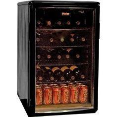 Haier Wine and Beverage Center Mini Fridge, Black Beverage Refrigerator, Mini Fridge, Beverage Center, Beer Keg, Bottle Rack, Black Doors, Black Cabinets, Wire Shelving, Small Appliances