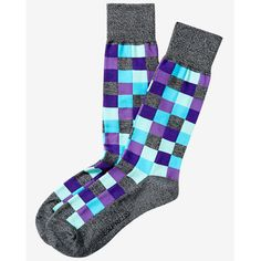 Express Marl Check Print Dress Sock ($11) ❤ liked on Polyvore featuring men's fashion, men's clothing, men's socks, purple, mens socks, mens purple socks, mens purple dress socks and mens dress socks