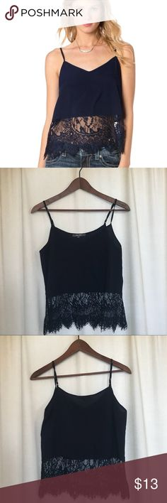 Navy blue Miss Me Tank Top NEVER WORN. NWOT. Really cute Navy Miss Me Lace Tank Top. Size Medium but it's between a Medium and a Small. Bought at Boot Barn. Miss Me Tops Tank Tops