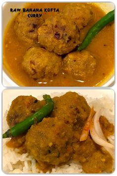 Raw banana kofta curry also known as kachche kela kofta curry, is one of popular kofta curry made with raw banana fried dumplings or kofta served with flavourful sauce. Banana Curry, Raw Banana, Fried Bananas, Banana Fried, Fried Dumplings, Indian Curry, Fun Drinks, Indian Food Recipes, Fries