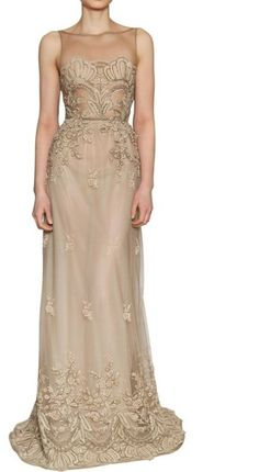 Luisa Beccaria - Lace On Silk Tulle Long Dress