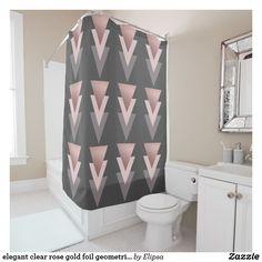 elegant clear rose gold foil geometric triangles shower curtain