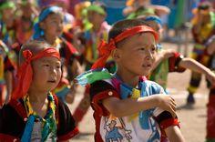 Mongolian children doing the Eagle Dance.