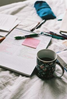 Homework in bed and a warm drink to keep you going. The usual.