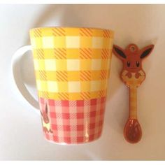 Pokemon Center 2013 Peeking Pokemon Campaign Eevee Ceramic Mug and Spoon Set