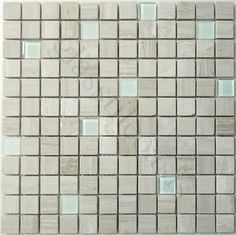 "Glass and Stone Mix 7/8"" x 7/8"" Cream/Beige Via Appia Series Polished Glass and - tile - Glass Tile Oasis"