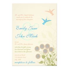 Whimsical Flower  Humming Bird Wedding Invitation  Click on photo to purchase. Check out all current coupon offers and save! http://www.zazzle.com/coupons