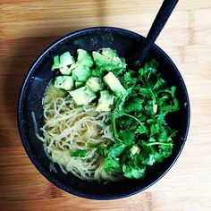 Fideos nuevos!  Kelp noodles with all kinds of fats: tallow lard butter cheese and avocado in this Mexican inspired noodle soup! #lowcarb #keto #lchf #lowcarbhighfat #primal #avocado #kelpnoodles #bonebroth #cilantro #ilovecilantro #glutenfree #foodporn #greenfood #dinner by therebelplate