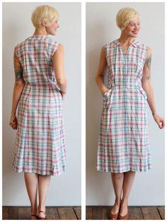 1950s Dress // Dan River Plaid Dress // vintage by dethrosevintage, $68.00