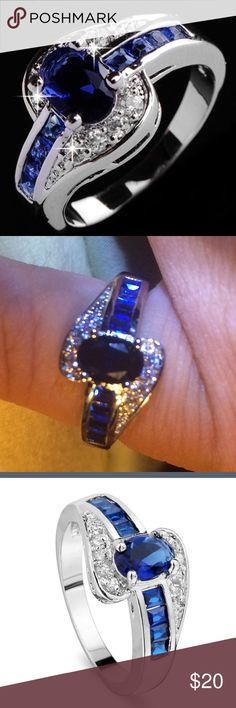 NWOT Silver and Sapphire Ring Sz 6 Gorgeous CZ fashion ring. The sapphires may not be natural but they sure do look real. I m sure the diamond accents are high quality CZ but I don't know if the blue gems are lab created. The ring is stamped 925 and mine does not bother me but the beauty of this ring combined with the price makes me think it may be plated. Jewelry Rings