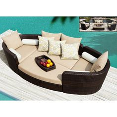Venice 4-pc Modular Deep Seating Lounge Set by Sirio™ -- Really cool Modular Idea. It breaks apart to a normal set. Or put it together and make it a bed.