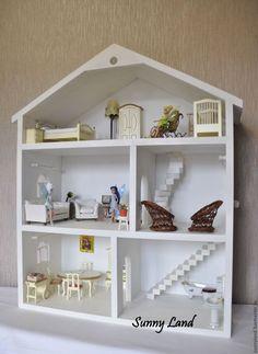 Кукольный дом ручной работы. Ярмарка Мастеров - ручная работа. Купить Кукольный домик. Handmade. Белый, полка из дерева, для кукол
