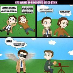 Cas wants a ride on Deans Discostick. ;) DESTIEL