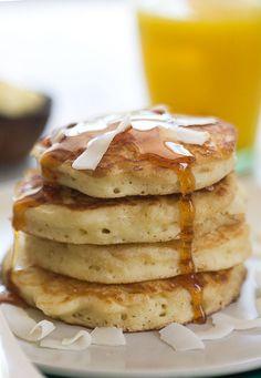 Coconut Pancakes w/ Leaftv    Dry: AP flour sugar baking powder salt Wet Mix: coconut milk cream of coconut egg butter & unsweetened coconut flakes