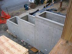 concrete planter boxes/retaining wall idea side of steps for porch? Concrete Planter Boxes, Concrete Planters, Garden Planters, Wall Planters, Succulent Planters, Balcony Garden, Hanging Planters, Succulents Garden, Concrete Retaining Walls