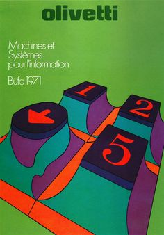 Walter Ballmer/Titti Campagnoli Illustration for Olivetti __   Poster advertising Olivetti's participation in a 1971 exhibition of office equipment. (Switzerland). Designer: Walter Ballmer and Titti Campagnoli. From Graphis Posters 1973.