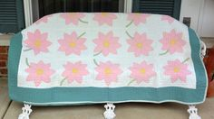 1960's Rare Quilt - Hand Made - Pink Flowers, White Background, Green Double Border - 64 x 80 - Beautiful! by YPSA on Etsy