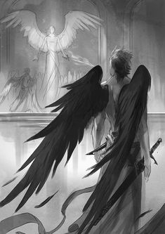 Find images and videos about art, anime and angel on We Heart It - the app to get lost in what you love. Dark Fantasy Art, Fantasy Artwork, Fantasy Kunst, Dark Art, Character Inspiration, Character Art, Art Amour, Angel Drawing, Ange Demon