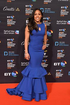 Strictly's Alex Scott's fashionable red carpet dresses: from footballer to fashionista - Photo 6 You Look Beautiful, How To Look Pretty, Alex Scott, Bright Red Lipstick, Gold Strappy Heels, Strictly Come Dancing, Blue Gown, Blue Crop Tops, Floor Length Dresses