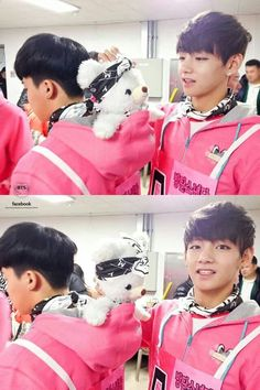 Cute .. #BTS Jimin, Sugabear and Taehyung.