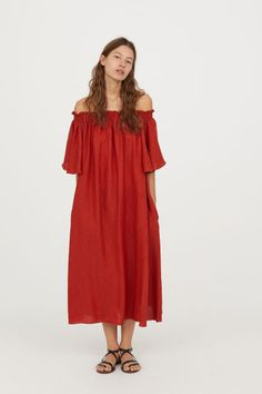 a8f55128c70e3 Off-the-shoulder dress - Red-orange - Ladies | H&M GB