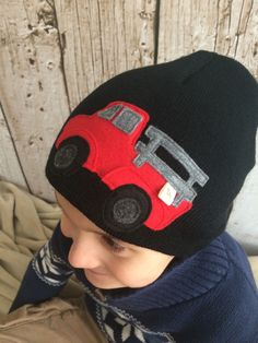 Little Red Pickup Truck Black Child/ Youth Knit Hat by letterbdesigns on Etsy https://www.etsy.com/listing/225233127/little-red-pickup-truck-black-child