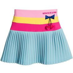 Agatha Ruiz de la Prada Girls Pink & Blue Crepe Skirt with Cherries at Childrensalon.com