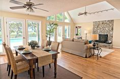 living room and dining room combination | ... Living Room And Dining Room Interior Combination Ceiling Fan With