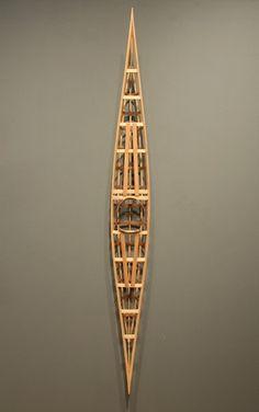 """Model Qajaq Frame - Maligiaq Padilla (Greenland).  Pine & Oak 3""""x73""""x8"""""""