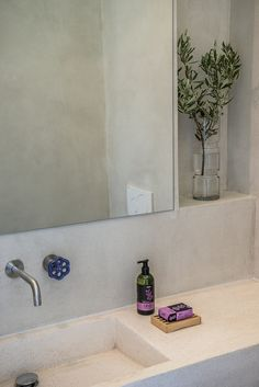 fos villa in Chania is brand new designed villa for up to 10 persons with pool.Fosvilla is located at the entrance of Galatas village distance from the centre of Chania city and enjoys views of the Mediterranean sea and Chania town. Wc Bathroom, Bathrooms, Concrete Basin, Cement Walls, Sink, Villa, Vacation, House, Design