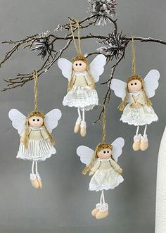 white and grey palette hanging Christmas decorations, sewing crafty Christmas ideas Merry Christmas Wishes, Homemade Christmas, Christmas Angels, Christmas Tree Ornaments, Christmas Crafts, Christmas Wood, Burlap Christmas Decorations, Angel Crafts, Christian Christmas