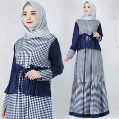 Arini Dress Navy Bahan Ballotely Mix Katun Fit L+ Harga 75rb