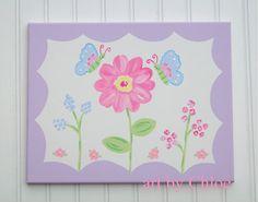 Pink & Lavender Purple LIndsey Butterfly Flower Garden Nursery Art - 11 x 14 - Girls Baby Room Wall Decor Canvas Hand Painted