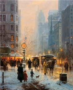 G (Gerald Harvey Jones) Harvey Winter Illustration, Street Painting, Portrait Pictures, Great Paintings, Holiday Pictures, Winter Art, Artist Art, American Art, Bunt