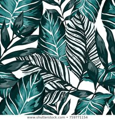 Watercolor seamless pattern with tropical leaves: palms, monstera, passion fruit. Beautiful allover print with hand drawn exotic plants. Leaf Prints, Canvas Prints, Big Leaves, Autumn Leaves, 3d Texture, Exotic Plants, Tropical Leaves, Printing On Fabric, Print Patterns