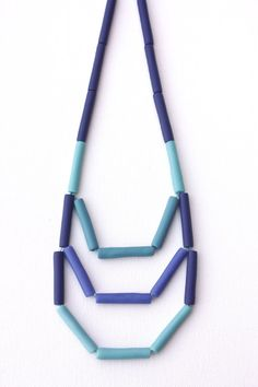 Teal purple tube necklace, geometric tribal, polymer clay jewelry, waxed cord