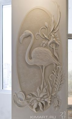 work of art by Leonid Kim . Plaster Sculpture, Plaster Art, Sculpture Painting, Mural Painting, Wood Sculpture, Wall Sculptures, Clay Wall Art, Mural Wall Art, Peacock Wall Art