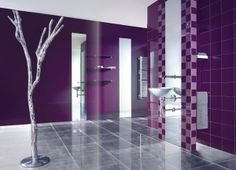Amazing 33 Cool Purple Bathroom Design Ideas : Cool Purple Bathroom Design With Wastafel Mirror Ceramic Flooring Wall Color Design With Tree. Bathroom Wall Decor, Bathroom Colors, Bathroom Styling, Bathroom Interior, Bathroom Ideas, Design Bathroom, Bathrooms Decor, Bath Design, Purple Bathrooms