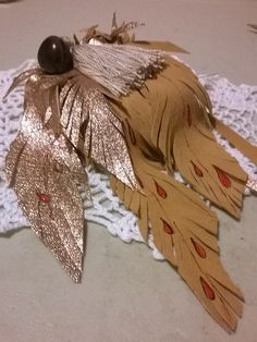 Leather Feathers Purse Charm Key Ring by LeatherWearableArt