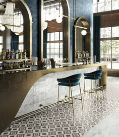 Marble and wooden inlays effect by Ceramica Sant'Agostino Italian Interior Design, Bar Interior Design, Restaurant Interior Design, Commercial Interior Design, Pub Interior, Showroom Design, Restaurant Furniture, Architecture Restaurant, Hotel Restaurant