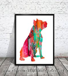 Pit Bull Watercolor Print, Staffordshire Terrier watercolor, Home Decor, dog watercolor, watercolor painting, Pit Bull art,animal watercolor