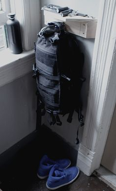 hook/shelf combo to hold my bag and edc gear when not in use.