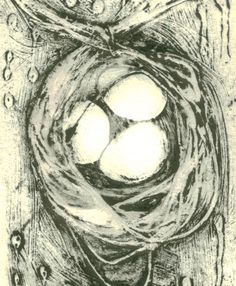 Collograph print hand-pulled nest black and white on Etsy, $40.05 AUD