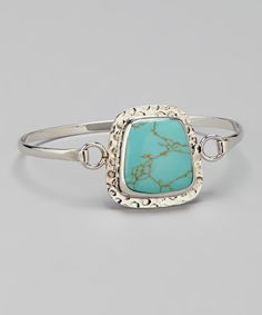 Look what I found on #zulily! Athra Turquoise & Sterling Silver Hammered Bangle by Athra #zulilyfinds