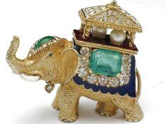 CINER Figural Howdah Elephant Brooch Pin Rhinestone Enamel